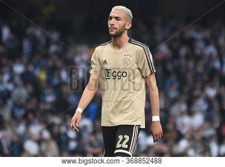 London, England - April 30, 2019: Hakim Ziyech Of Ajax Pictured Prior To He First Leg Of The 2018/19