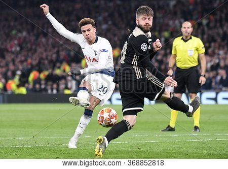 London, England - April 30, 2019: Dele Alli Of Tottenham (l) And Lasse Schone Of Ajax (r) Pictured D
