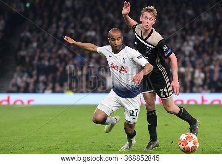 London, England - April 30, 2019: Lucas Moura Of Tottenham (l) And Frenkie De Jong Of Ajax (r) Pictu