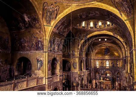 Venice, Italy - May 21, 2017: Inside The Old St Mark`s Basilica Or San Marco, It Is Top Landmark Of