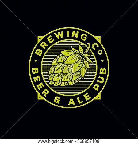 Beer And Ale Logo. Beer Pub Emblem. Letters And Hop Cone At Engraving Style. Brewing Company Logotyp