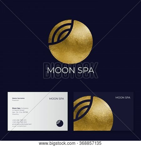 Moon Spa Logo. Hotel Spa Emblems. Golden Moon And Strips. Business Card.