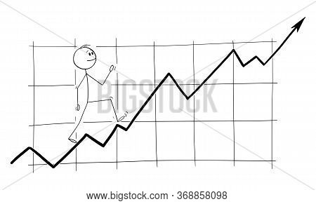 Cartoon Stick Figure Drawing Conceptual Illustration Of Man, Investor Or Businessman Happily Walking