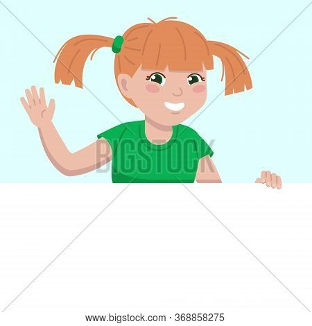 At The Top, A Little Girl Looks Out From Behind A White Wall And Smiles And Waves .