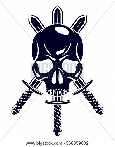 Aggressive Skull Pirate Emblem Jolly Roger With Weapons, Vector Vintage Style Logo Or Tattoo Dead He
