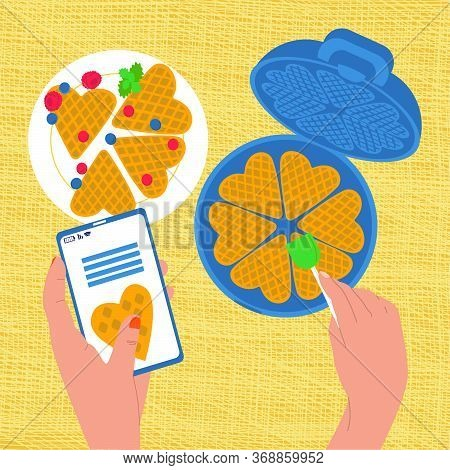 Vector Flat Illustration Top View Of Process Making Waffles In Waffle Maker Using Recipe Over Phone.