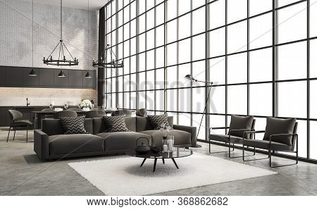 Industrial Loft Style Living And Dining Room Interior 3d Render,there Are Concrete Floor,white Brick