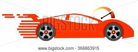 Concept Of Fast Delivery. Red Speed Car And Speedometer. Logo Design Template For Speedy Delivery Or