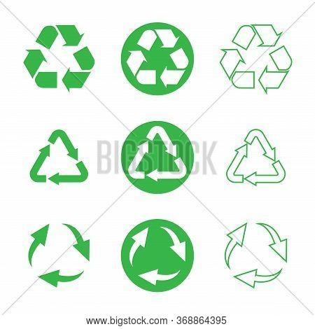 Recycle Icon, Sign, Symbol That Can Be Degraded Biologically, Can Be Recycled And Is Sustainable. Wa