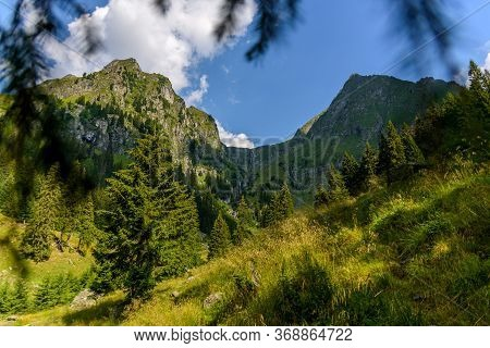 Panormic View From The Bad Valley (valea Rea) In The Fagaras Mountains, Leading To The Moldoveanu Pe