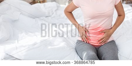 Appendicitis. Unrecognizable Woman Touching Aching Stomach With Red Pain Zone Having Appendix Inflam