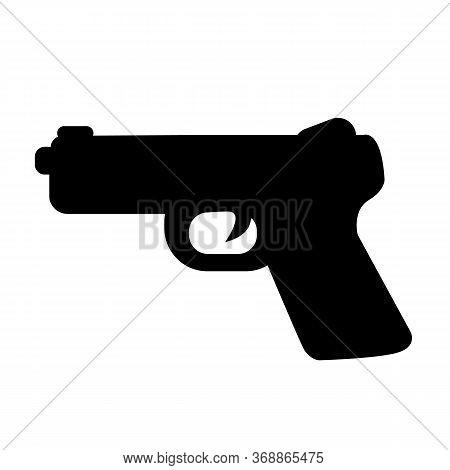 Pistol Gun Icon On White Background. Flat Style. Gun Icon For Your Web Site Design, Logo, App, Ui. W