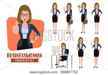 Businesswoman Character Vector Set. Business Female Character Office Professional Person In Differen