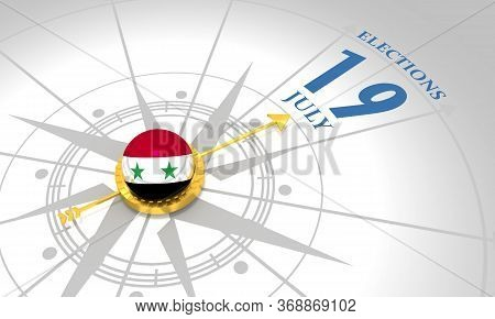 Voting Concept. Syria Elections. 3d Rendering. Abstract Compass Points To The Elections Date