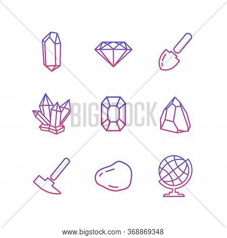 Geology Icons Set In A Flat Style. Geological Hammer, Shovel, Globe, Crystal, Stone. Collection Info