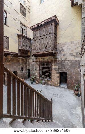 Cairo, Egypt- February 22 2020: Facade Of Ottoman Era Historic House Of Zeinab Khatoun With Wooden O