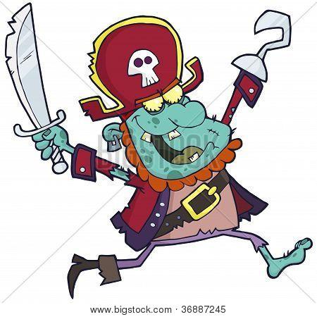 Blue Cartoon Pirate Zombie