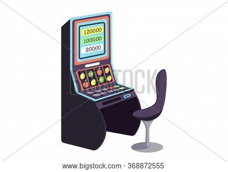 Casino Cartoon Vector Illustration. Fruit Machine Flat Color Object. Gambling Entertainment. Make Be