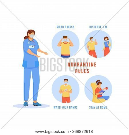 Quarantine Rules Flat Concept Icons Set. Wear Mask. Wash Hands. Keep Social Distance. Stay Home. Med