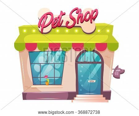 Pet Shop Cartoon Vector Illustration. Veterinary Building Flat Color Object. Store Exterior With Str