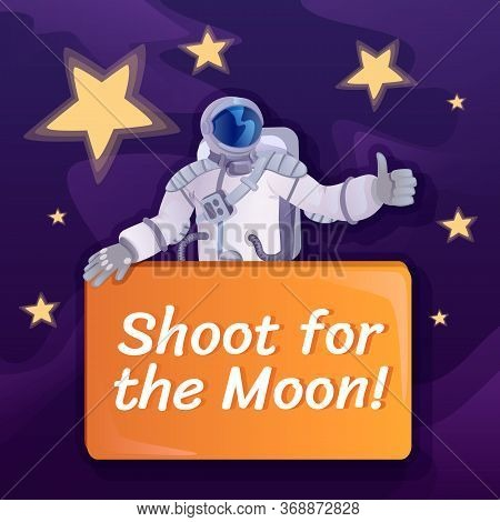 Shoot For Moon Social Media Post Mockup. Motivational Phrase. Web Banner Design Template. Cosmonaut