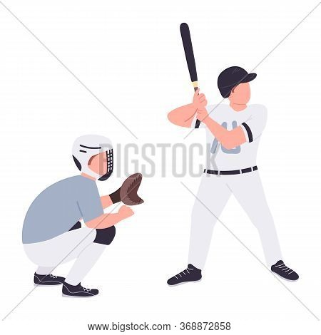 Baseball Players Flat Color Vector Faceless Characters. Batter And Catcher In Uniform Isolated Carto