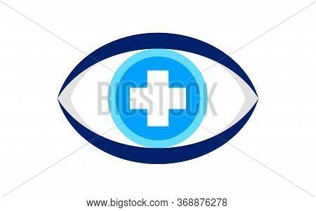 Eye Blue With Cross Sign Isolated On White, Eyeball And Plus Symbol, Health Care Eye Concept, Eyesig
