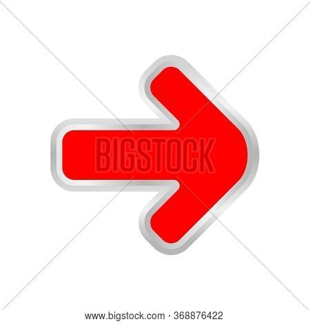 Red Arrow Pointing Right Isolated On White, Clip Art Red Arrow Icon Pointing To Right, Illustrations