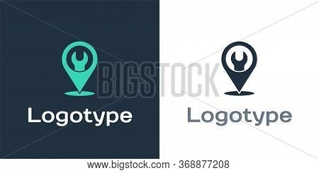 Logotype Location With Wrench Spanner Icon Isolated On White Background. Adjusting, Service, Setting