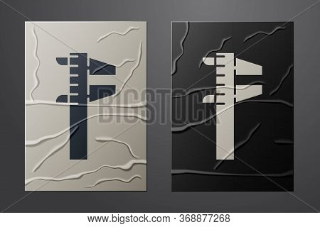 White Calliper Or Caliper And Scale Icon Isolated On Crumpled Paper Background. Precision Measuring