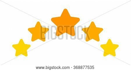 Five Stars Icon Cute Isolated On White, Chic 5 Star Shape Yellow Orange, Illustration Simple Star Ra