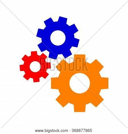 Circle Cog Gear Colorful For Mechanization Icon Isolated On White, Simple Circle Cog Shape For Engin