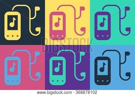 Pop Art Music Player Icon Isolated On Color Background. Portable Music Device. Vector. Illustration