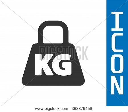 Grey Weight Icon Isolated On White Background. Kilogram Weight Block For Weight Lifting And Scale. M