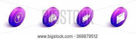 Set Isometric Fragile Broken Glass, Worldwide Shipping And Box, Carton Cardboard Box And Carton Card