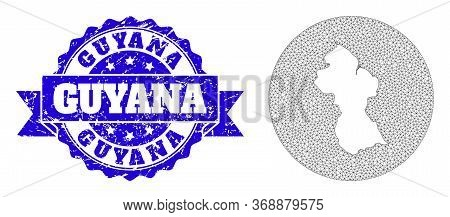 Mesh Vector Map Of Guyana With Scratched Watermark. Triangular Mesh Map Of Guyana Is A Hole In A Cir