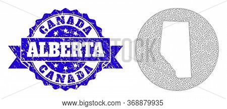 Mesh Vector Map Of Alberta Province With Scratched Watermark. Triangular Mesh Map Of Alberta Provinc