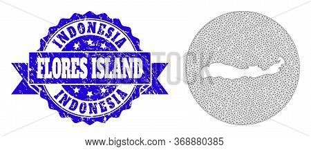 Mesh Vector Map Of Indonesia - Flores Island With Grunge Seal Stamp. Triangle Network Map Of Indones