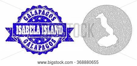 Mesh Vector Map Of Galapagos - Isabela Island With Scratched Stamp. Triangle Network Map Of Galapago