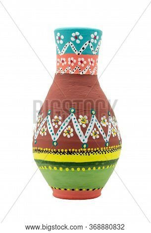 Handmade Artistic Pained Colorful Pottery Vase - Arabic: Kolla - Isolated On White Including Clippin