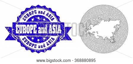 Mesh Vector Map Of Europe And Asia With Scratched Seal Stamp. Triangular Mesh Map Of Europe And Asia