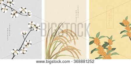 Oriental Japanese Style Abstract Pattern Background Design Nature Plant Cotton Ear Of Rice And Osman