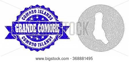 Mesh Vector Map Of Grande Comore Island With Grunge Stamp. Triangle Mesh Map Of Grande Comore Island