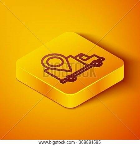 Isometric Line Delivery Tracking Icon Isolated On Orange Background. Parcel Tracking. Yellow Square