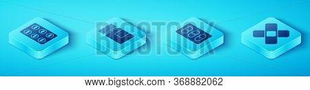 Set Isometric Pills In Blister Pack, Medicine Bottle, Crossed Bandage Plaster And Pills In Blister P