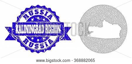 Mesh Vector Map Of Kaliningrad Region With Grunge Seal Stamp. Triangle Network Map Of Kaliningrad Re