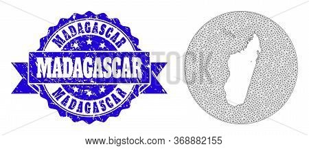 Mesh Vector Map Of Madagascar Island With Grunge Seal. Triangular Mesh Map Of Madagascar Island Is I