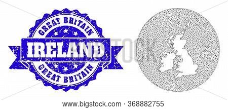 Mesh Vector Map Of Great Britain And Ireland With Grunge Seal. Triangular Mesh Map Of Great Britain