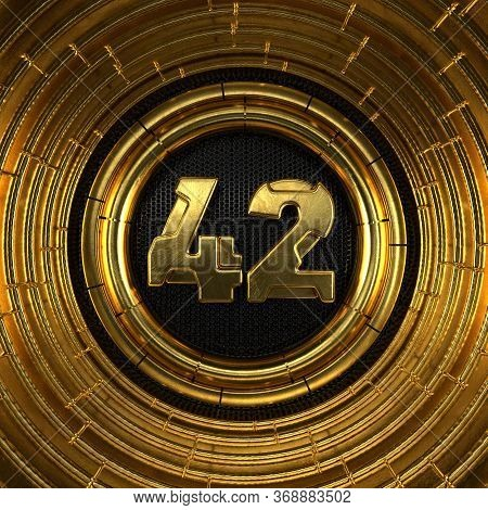 Gold Number 42 (number Forty-two) With Perforated Black Metal Background And Gold Rings Around. 3d I