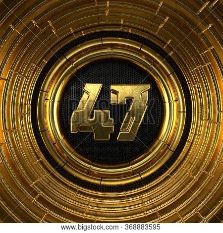 Gold Number 47 (number Forty-seven) With Perforated Black Metal Background And Gold Rings Around. 3d